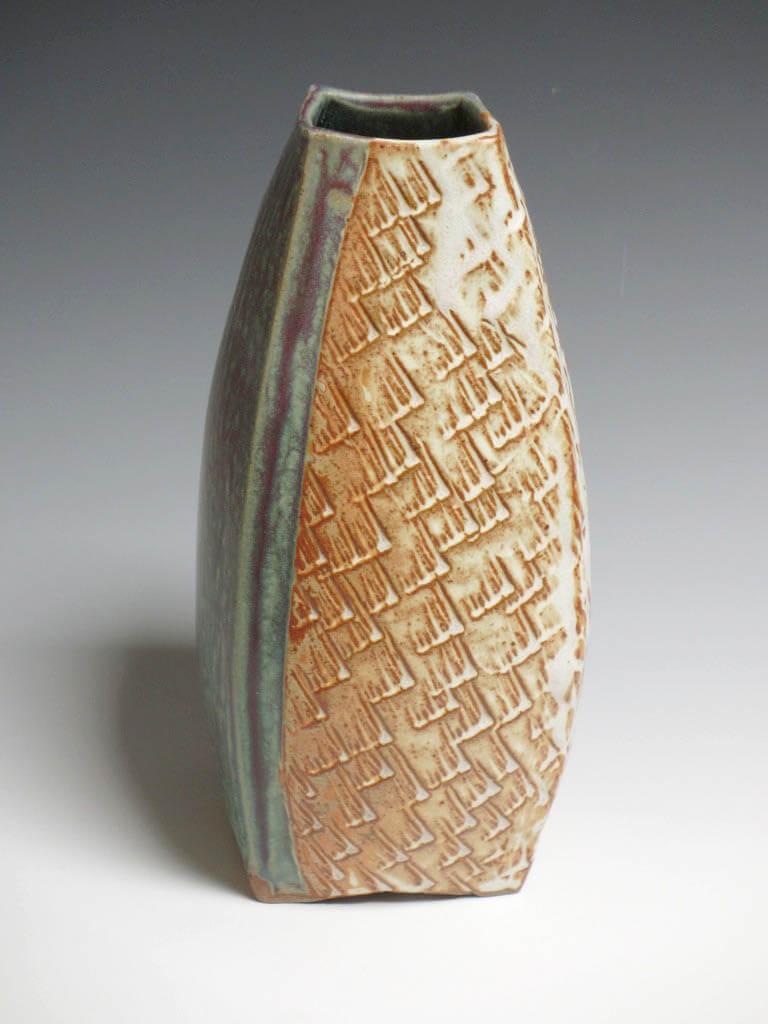 Handmade brown and green porcelain vase