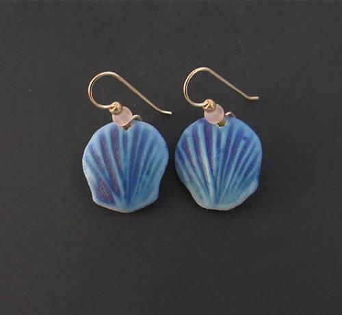 Blue shell earrings