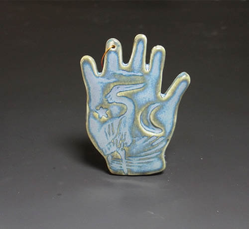 Blue hand ornament
