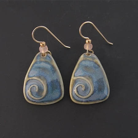 porcelain blue swirl earrings
