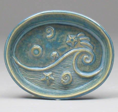 Blue wave soap dish