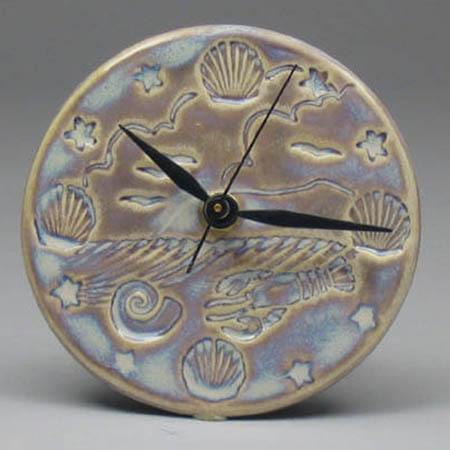 Tan Seascape Clock