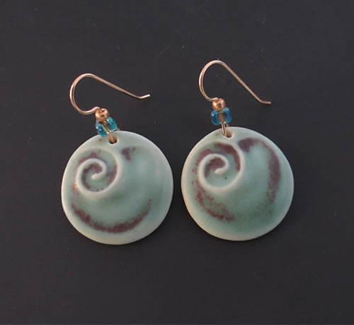 Green wave earrings