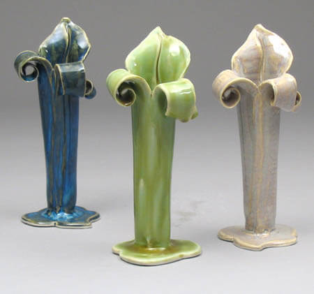 Blue, green and tan bud vases
