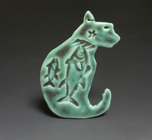 Green cat ornament