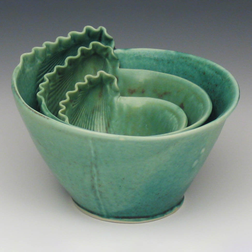 Green porcelain shell bowls, nested