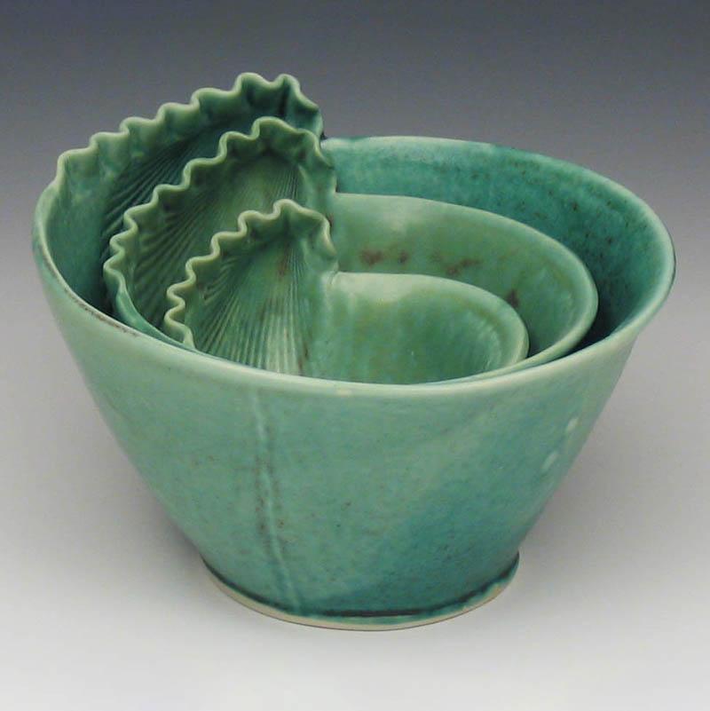 Green porcelain shell bowls, nested