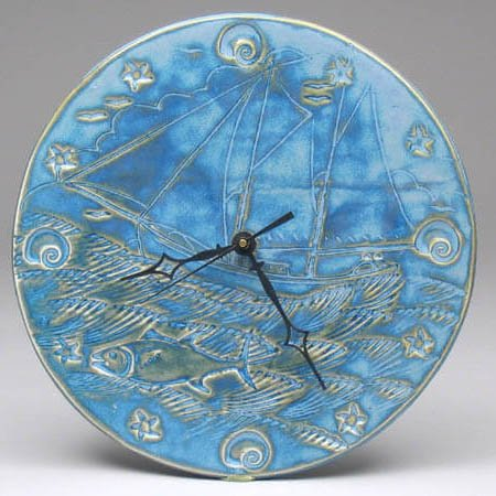 Blue Seascape Clock