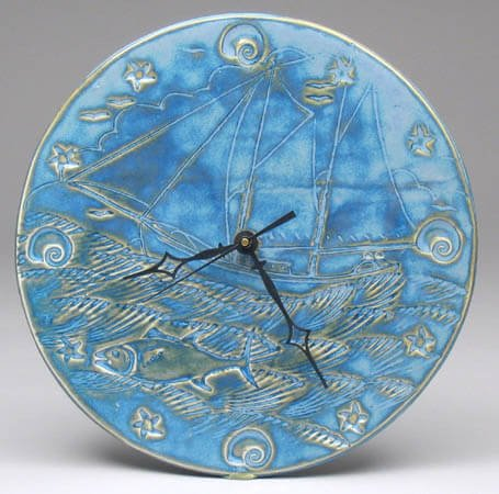 Blue Seascape Clock