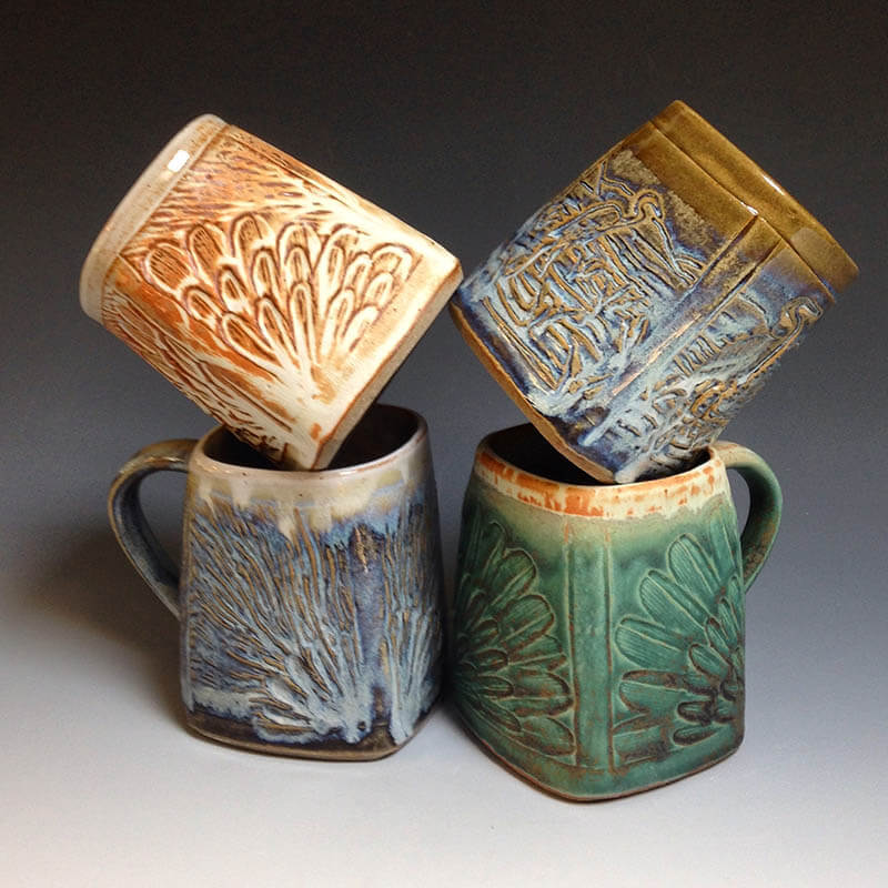 stoneware mugs with bright colors