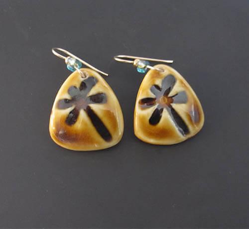 Tan dragonfly earrings